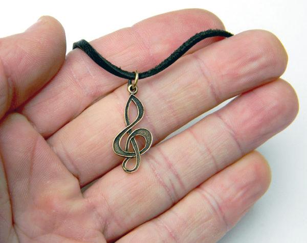 небольшая изящная подвеска скрипичный ключ подарок певице музыканту