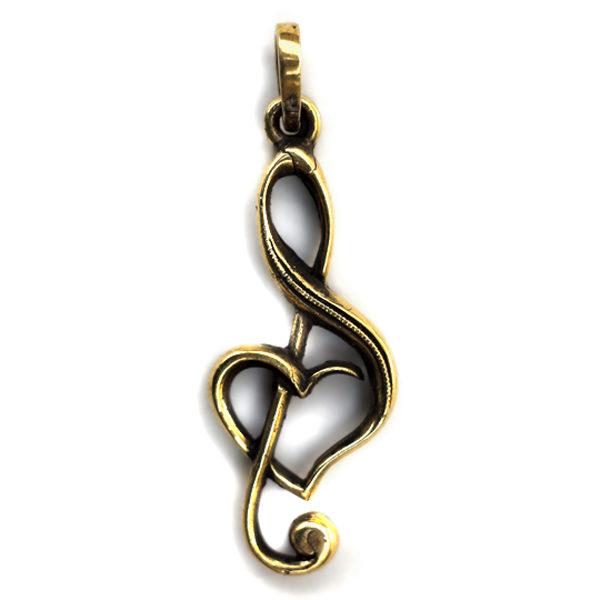 купить подвеска в виде скрипичного ключа из бронзы бижутерия