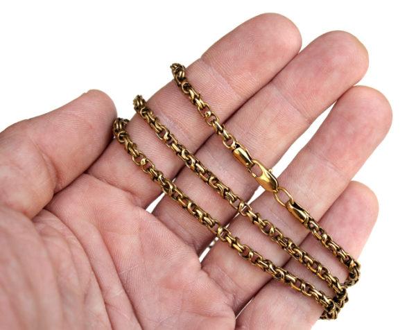Купить мужскую цепочку на шею. Бижутерия из бронзы