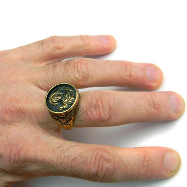 богоматерь знамение богородица христианское кольцо бронзовое купить