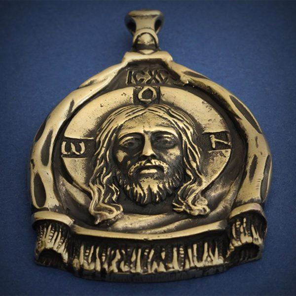 христианская икона спас кулон бронзовый мандилион купить в крыму