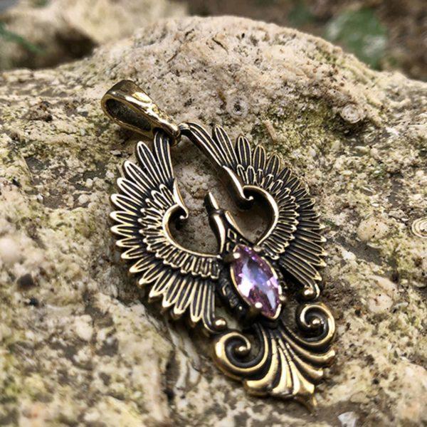феникс кулон с фианитом бронзовые украшения купить подарок в симферополе