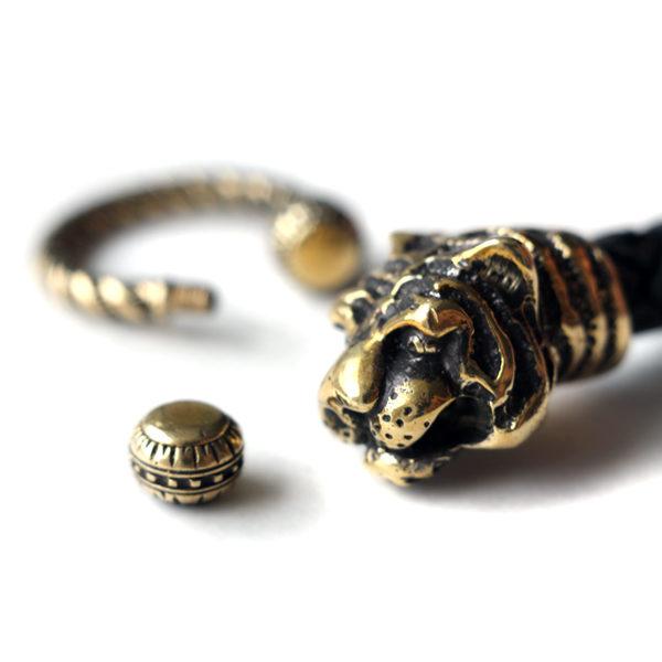мужской стильный браслет с тиграми бронза и кожа бижутерия симферополь