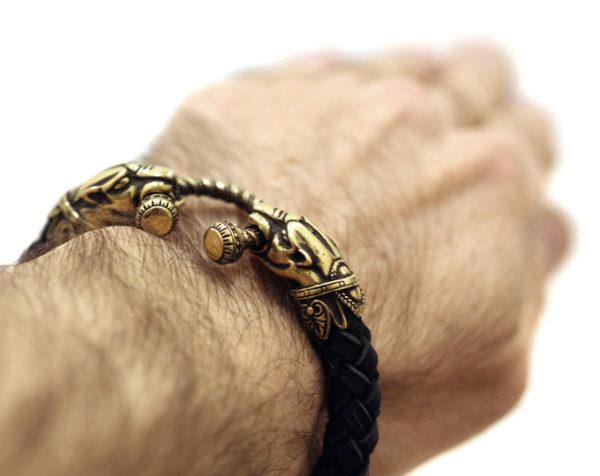 купить кожаный браслет мужской с головами пантер в интернет магазине крым