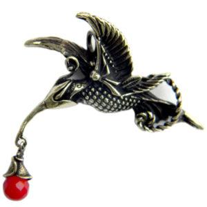 Купить подвеску из бронзы птичка колибри ювелирное украшение в подарок девушке на др