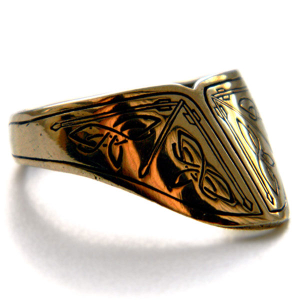 купить кольцо перстень лучника ручной работы с узорами скандинавскими