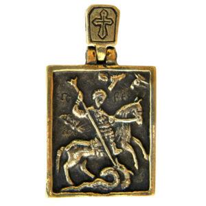 бронзовая икона Георгий Победоносец кулон подвеска бронзовая купить в симферополе