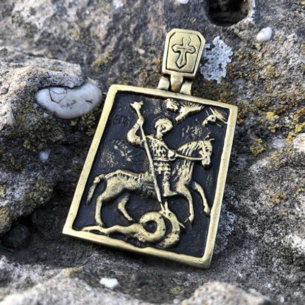 мужской кулон георгий победоносец икона купить в крыму