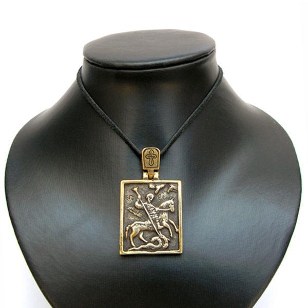 мужской бронзовый кулон георгий победоносец икона купить в крыму