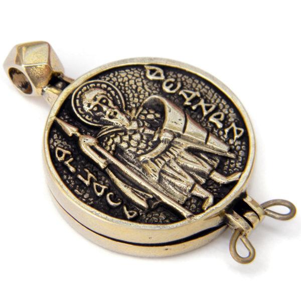 бронзовый кулон змеевик энколпий св. Феодор Стратилат купить в крыму в симферополе оптом христианские украшения