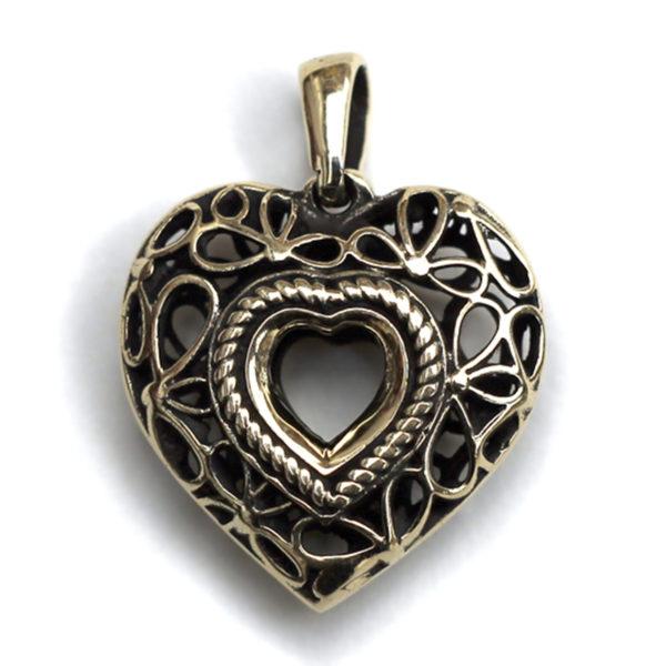 сердце бронзовый кулон подвеска на шею сердце купить в крыму