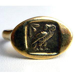 стильное кольцо с совой бронзовое тетрадрахма купить в симферополе