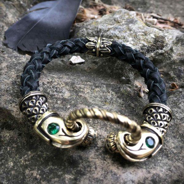 чёрный кожаный браслет с головами ворона купить в симферополе