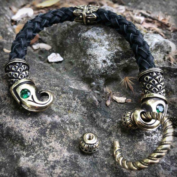 кожаный браслет чёрный купить в крыму в симферополе браслет ворон