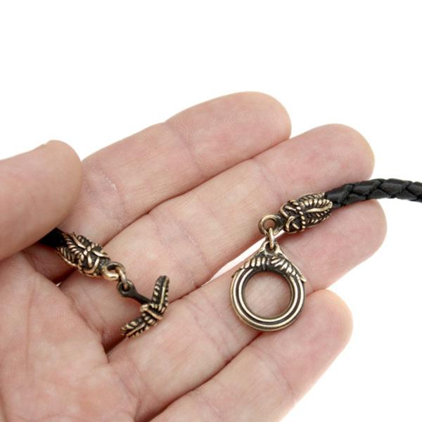 шнурок плетёный кожаный чёрный с бронзовой застёжкой купить в симферополе