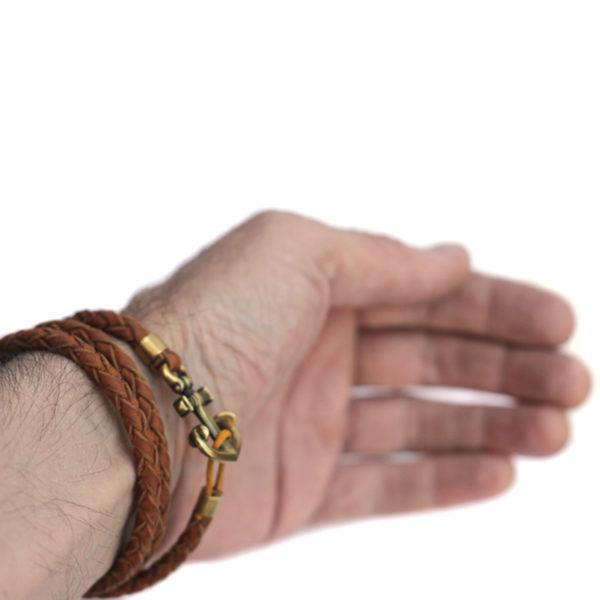 кожаный коричневый браслет с якорем купить в симферополе