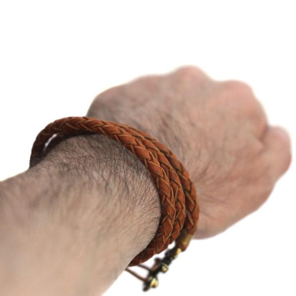 кожаный коричневый браслет с якорем купить в крыму