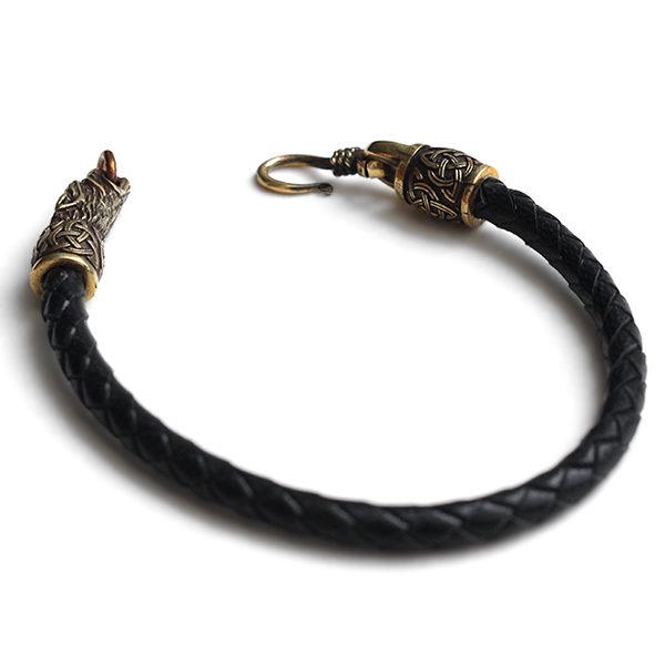 Купить стильные мужские браслеты на руку с головами волка цена фото