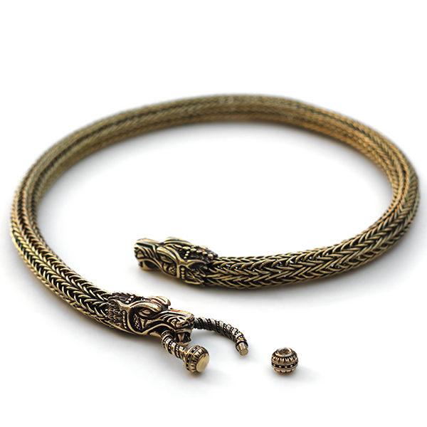 купить массивное украшение на шею плетение viking knit дракон