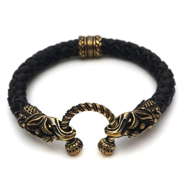 черный кожаный браслет изделие украшение из бронзы