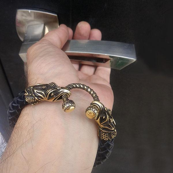 кожаный браслет с грифонами для парней этно подарки
