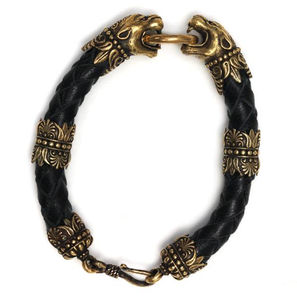 Чёрный кожаный тотемный браслет-талисман с головами пантер купить