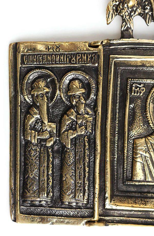 триптих складень бронзовая икона христианская казанская богоматерь
