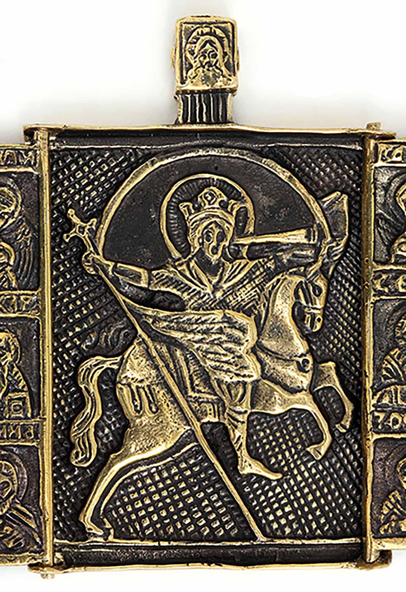 икона из бронзы складень триптих с вятой михаил