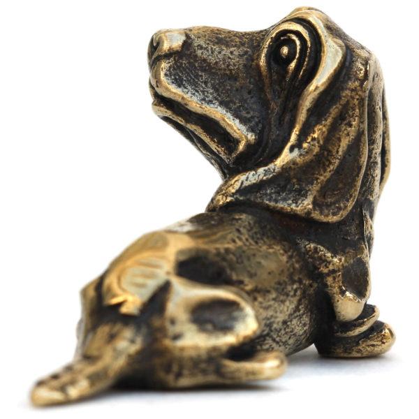 бронзовая собака фигурка бассет-хаунд