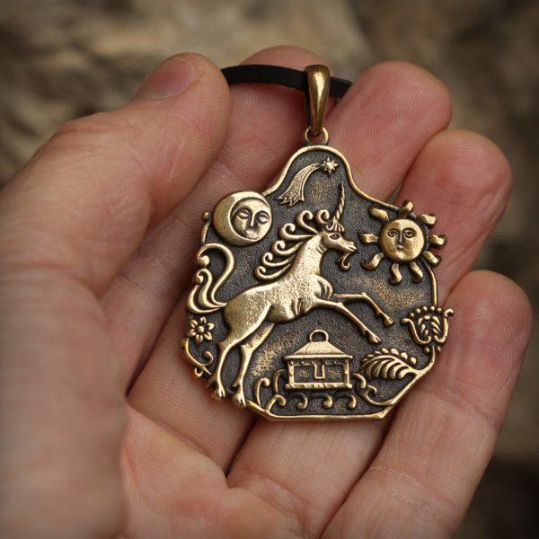 украшение для вечеринки кулон бронзовый единорог