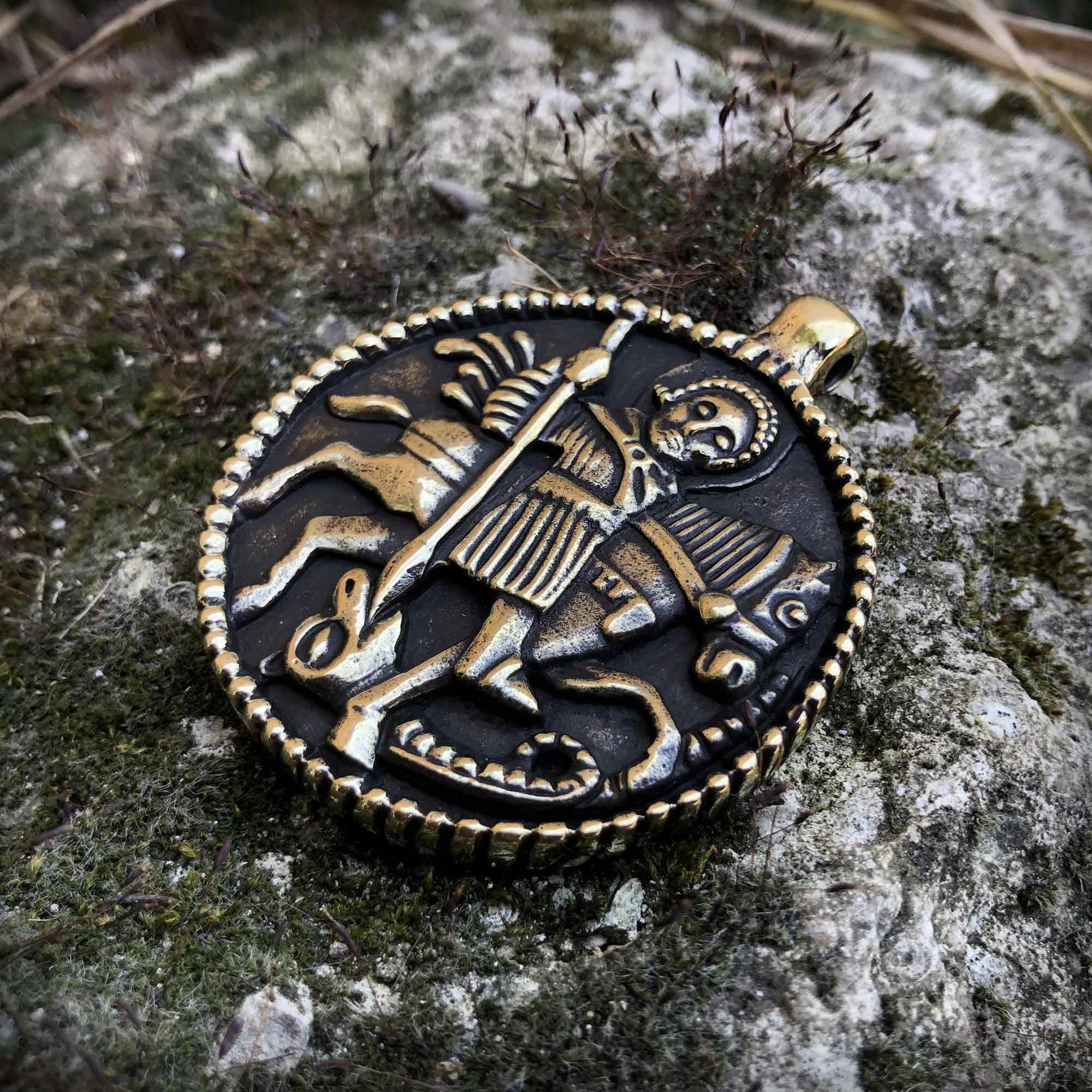 бронзовый кулон змеевик георгий победоносец купить в крыму оптом бижутерию из бронзы