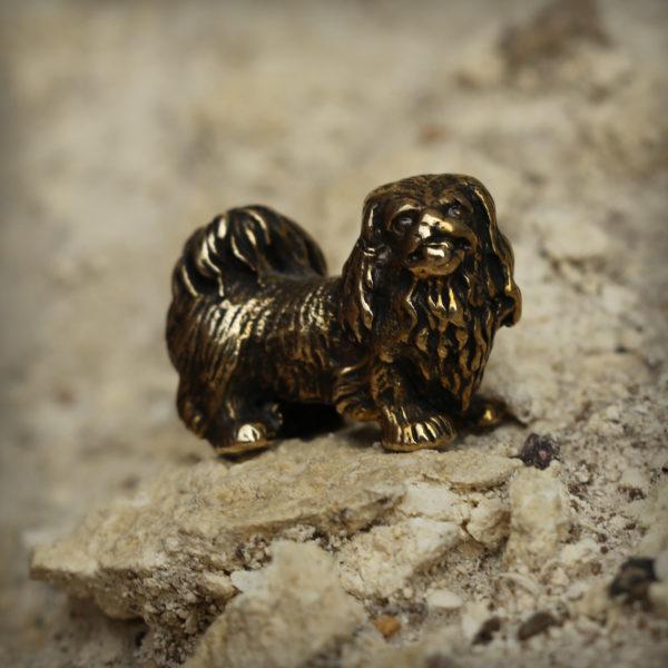 тотем собака подарок коллекционеру пекинес статуэтка бронзовая купить