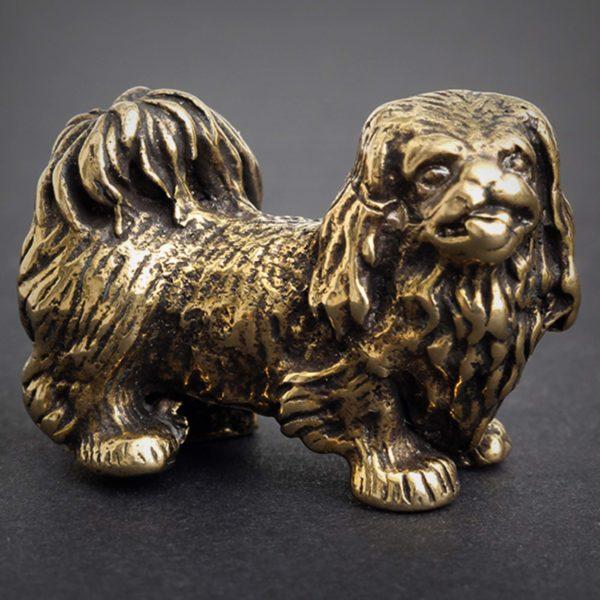 бронзовая статуэтка высокая детализация пекинес статуэтка купить