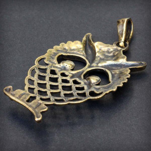 бронзовый кулон на кожаном шнурке сова