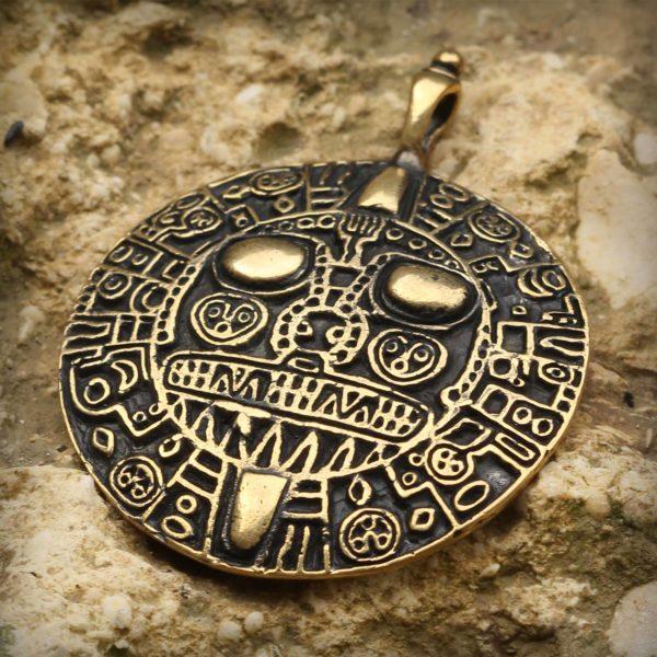 индейские украшения инков золотой диск инти перуанский амулет купить в симферополе в крыму оптом бронзовый кулон