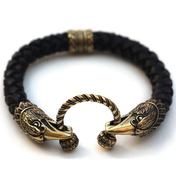 чёрный кожаный браслет с головами ворона купить в симферополе бронзовые украшения оптом крым