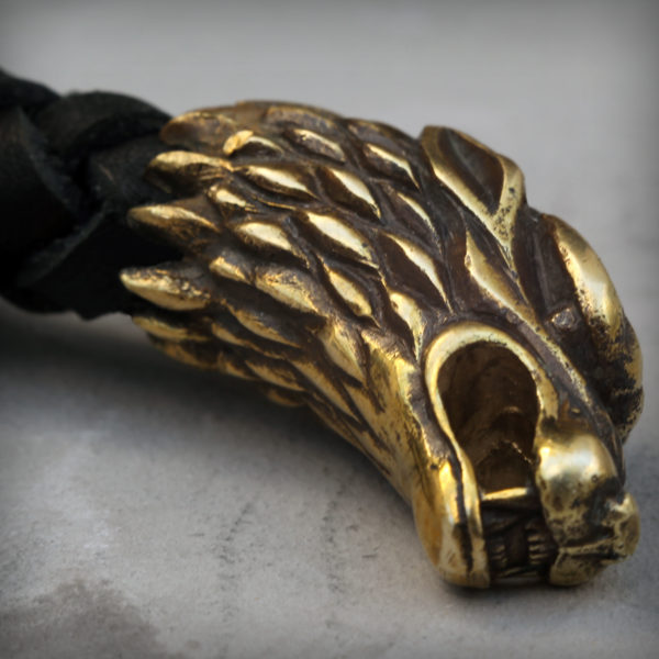 чёрный кожаный браслет с головами волка купить в симферополе оптом