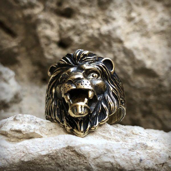 безразмерное кольцо лев бронзовые украшения оптом купить подарок львам