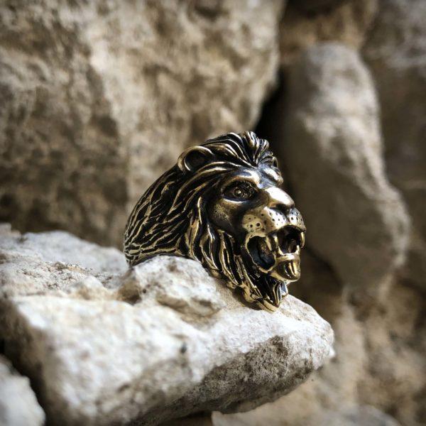 подарок льву тотемное украшение лев кольцо бронзовое тотемное кольцо