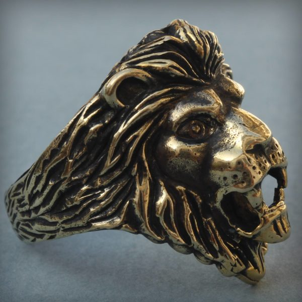 лев кольцо безразмерное бронзовые украшения оптом купить в крыму бронзленд