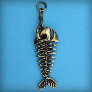 скелет рыбы брелок бронзовый кулон рыба купить подарок рыбам