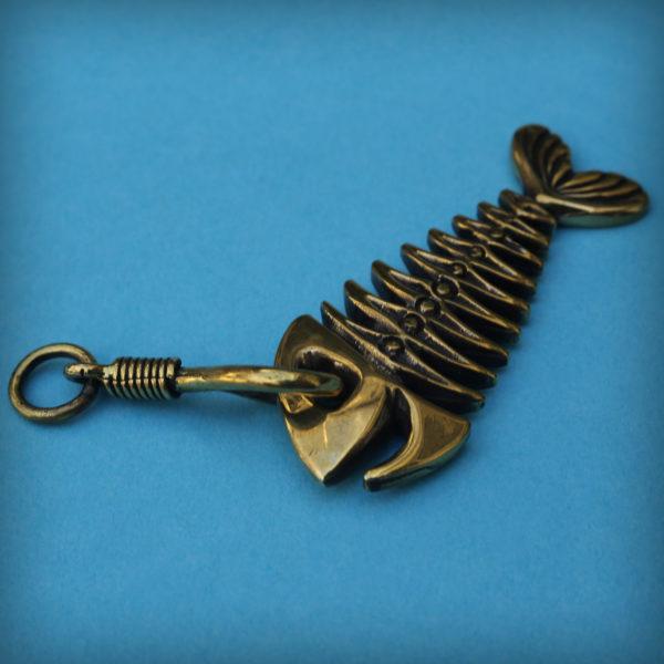 скелет рыба кулон бронзовый брелок для ключей купить в интернет магазине bronzeland бронзленд