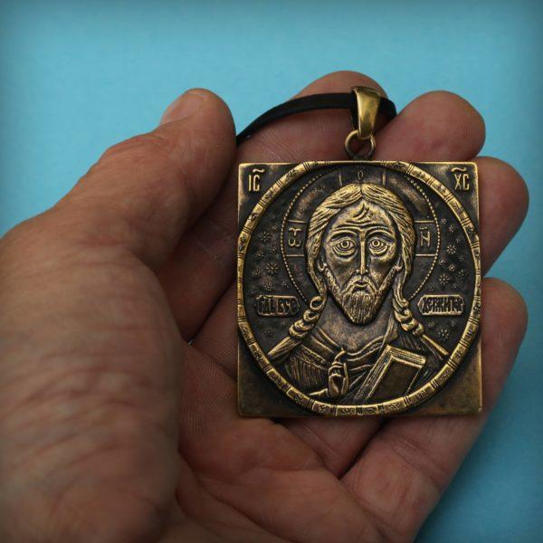Всемилостивый Спас Борисоглебский Романовский бронзовый кулон купить оптом и в розницу