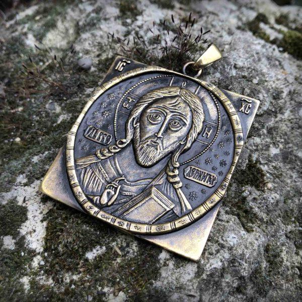 что привезти из крыма в подарок христианский кулон бронзовый Спас Всемилостивый купить